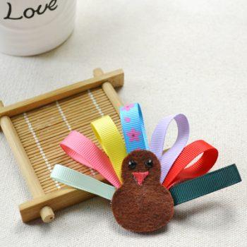 Ribbon Turkey Hair Bow