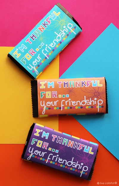 """I'm Thankful for Your Friendship"" Candy Bar Printable"