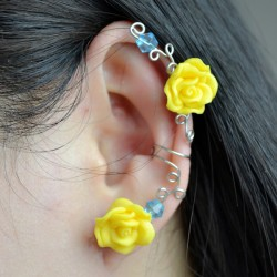 Wire Flower Ear Cuff