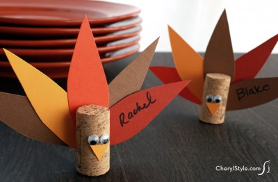 Cork Turkey Place Cards Fun Family Crafts