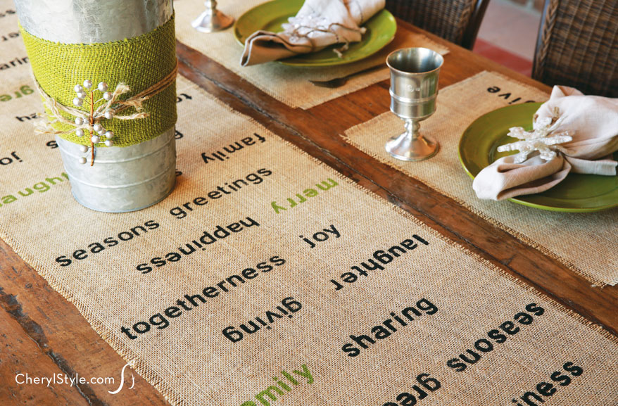 Stenciled Table Runner