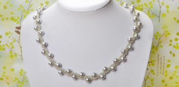 Pearl Necklace with Ribbon Tie