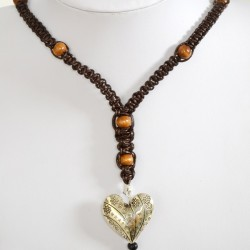 Braided Leather and Bead Necklace