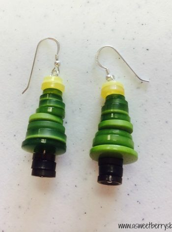Button Christmas Tree Earrings