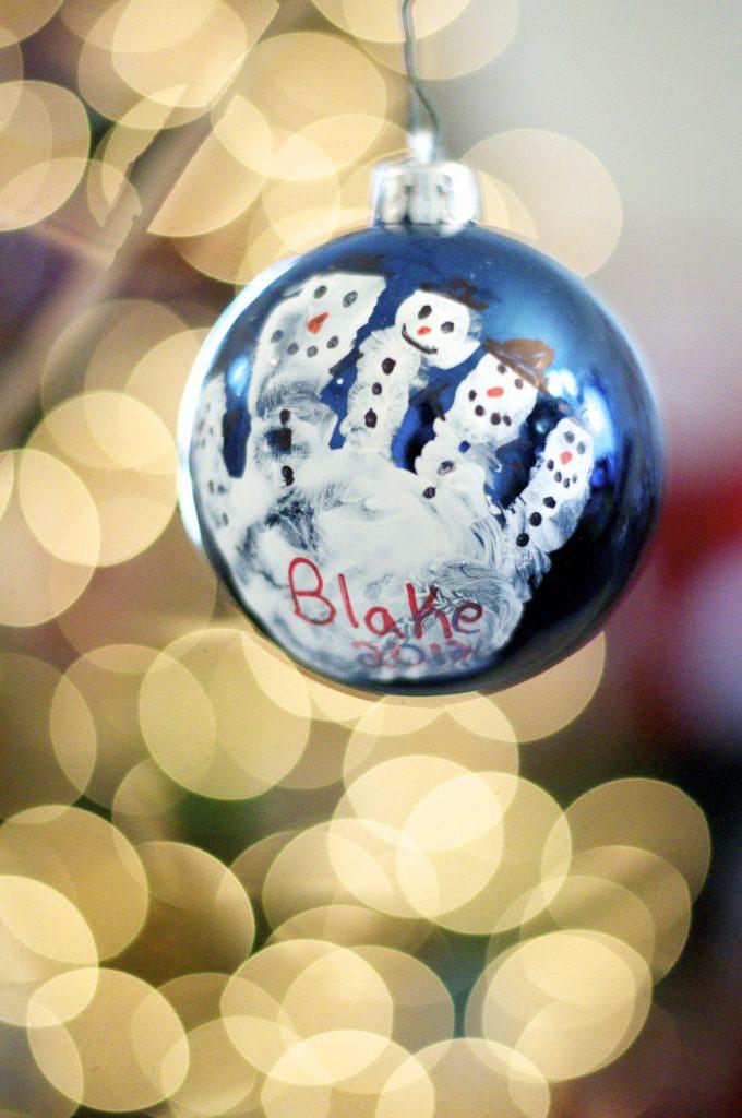 Handprint Snowmen Ornament