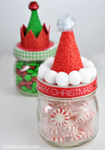 Santa and Elf Hat Candy Jars