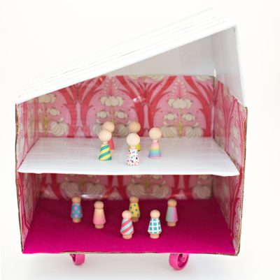 Cardboard Dollhouse on Wheels