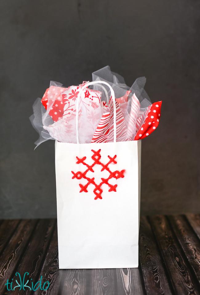 Cross Stitch Snowflake Gift Bag