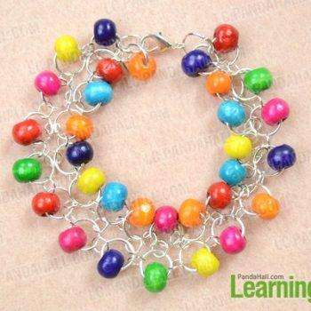Chainmail Wood Bead Bracelet