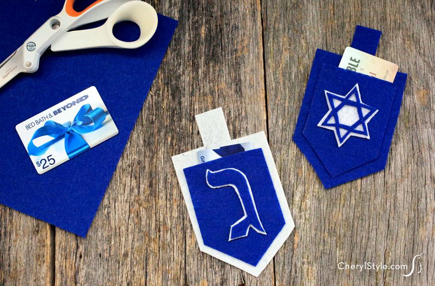 Felt Dreidel Gift Card Holders