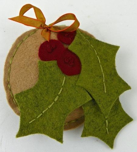 Holly Felt Puffy Ornament