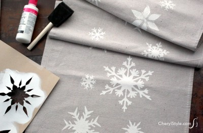 Stenciled Snowflake Table Runner