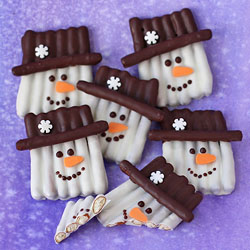 Chocolate Pretzel Snowmen