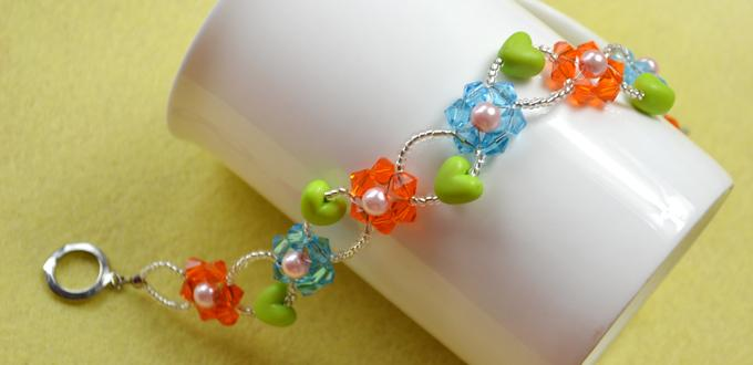 Glass Bead Flower Bracelet