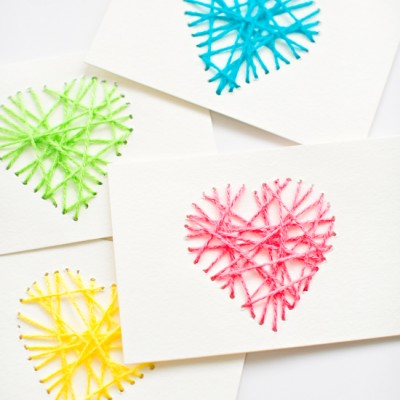 String heart yarn cards fun family crafts