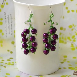 Beaded Grape Earrings