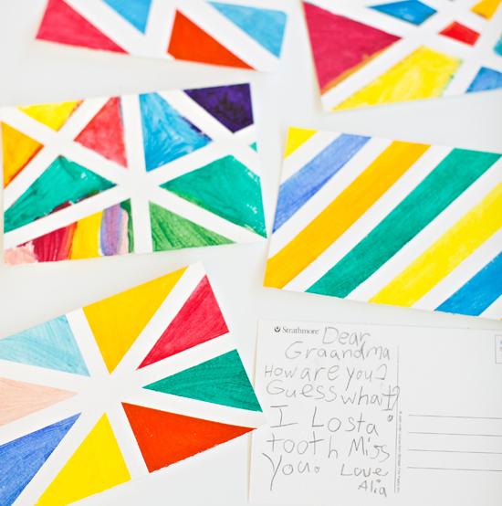 Geometric Watercolor Postcard Art