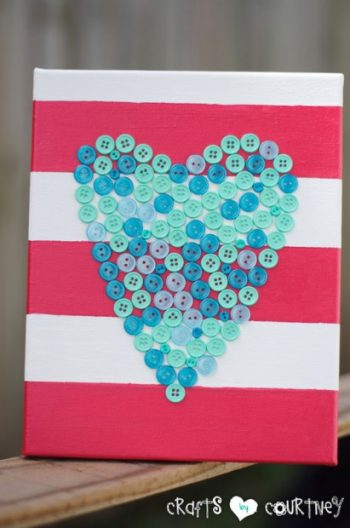 Button Heart on Canvas
