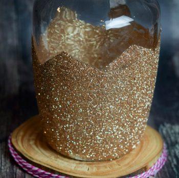 Gold Glitter Chevron Vase