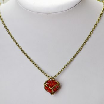 Beaded Cube Pendant Necklace