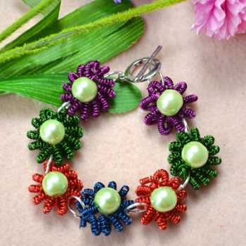 Coiled Wire Flower Bracelet