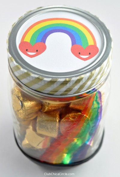Pot of Gold Rainbow Painted Candy Jar