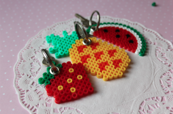 Perler Bead Fruit Keychains