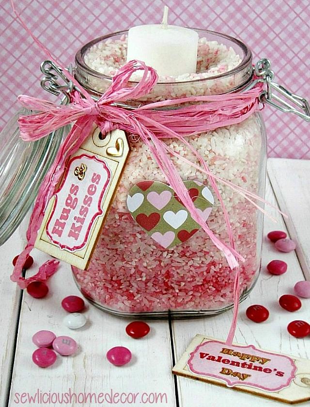 Ombre Valentine Rice Jar