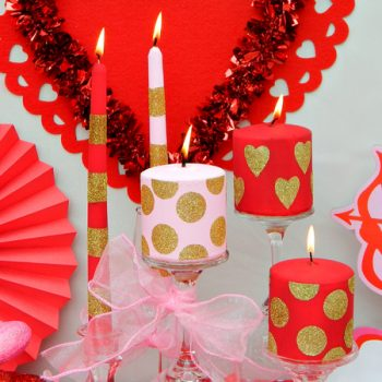 Decorated Valentine's Day Candles