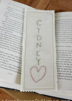 Fabric Embroidered Bookmark