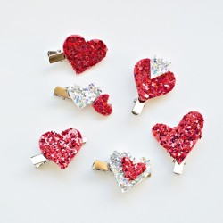 Glitter Heart Hair Clips
