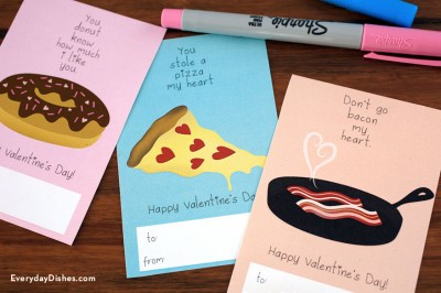 Printable Food-Themed Valentine Cards
