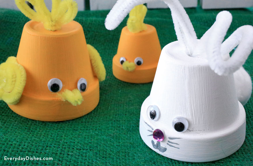 Bunny and Chick Flowerpots