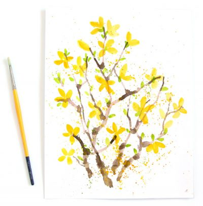 Watercolor Forsythias Fun Family Crafts