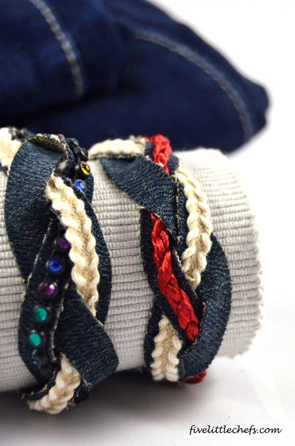 Recycled Denim Bracelet Fun Family Crafts