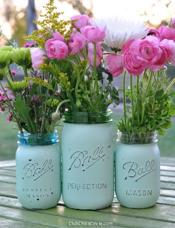 Distressed Mason Jar Vases