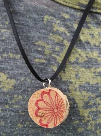 Stamped Wine Cork Necklace