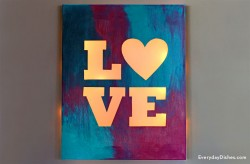 Lit Canvas Love Sign