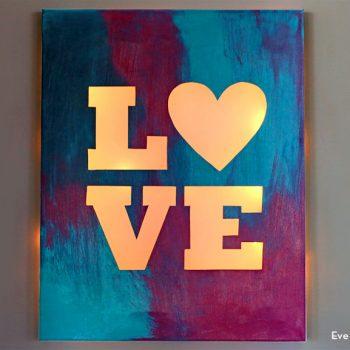 Lit Canvas Love Sign