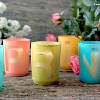 Spring Stenciled Votives