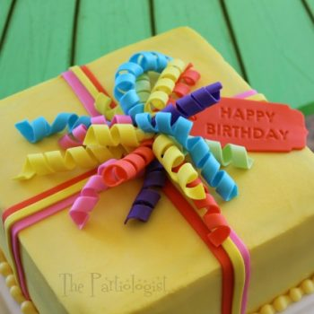 Edible Curling Ribbon Birthday Cake