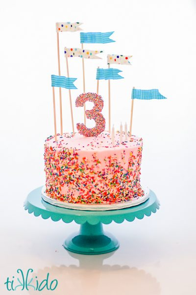 Waving Fabric Flag Cake Topper