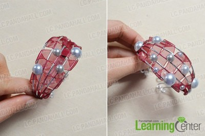 Ribbon-Wrapped Bracelet with Pearl Beads