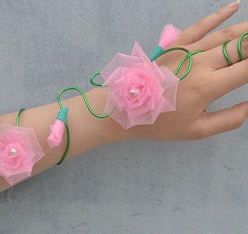 Wire-Wrapped Flower Wristband Bracelet