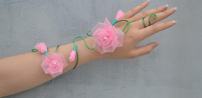 flower paper bracelets for kids wire wrapped flower wristband bracelet family crafts 6582