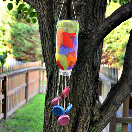 Tea bottle wind chime fun family crafts for Wind chime craft projects