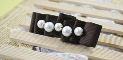 Ribbon Hair Clip with Pearls