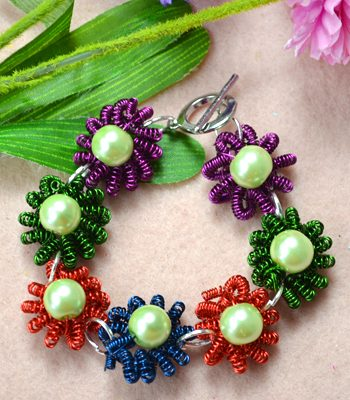 Coiled Wire Flower Bracelet with Beads
