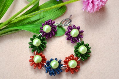 Coiled Flower Bracelet with Beads
