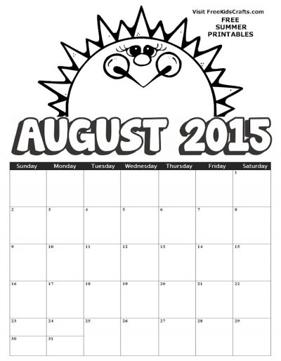 2015 August Coloring Calendar